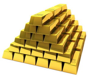 Gold Bars Stacked Up in a Pyramid