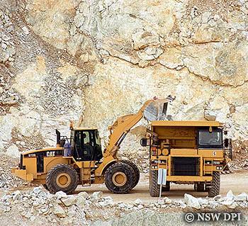Trucks working in a mine