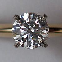 A round brilliant cut diamond set in a ring
