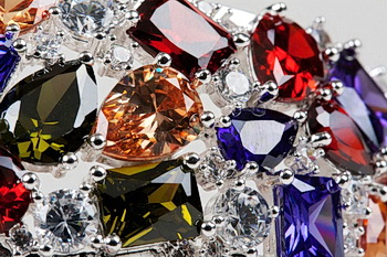 Gemstones close on a light background