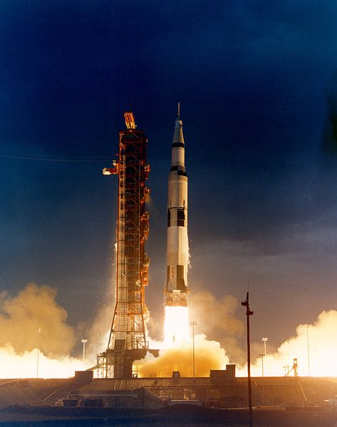 Apollo 14 Saturn V rocket blasting off