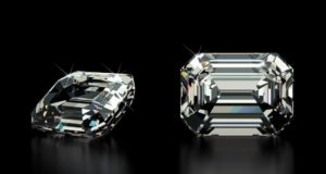 Top face and side view of a princess cut diamond