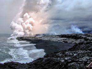 Kilauea Volcano with smoke plume rising
