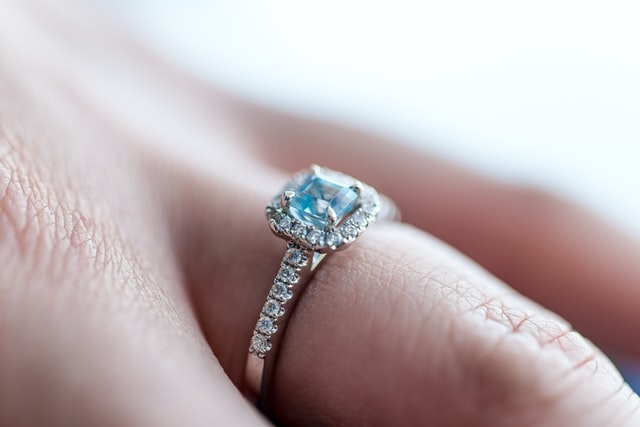 Aquamarine stone on a ring