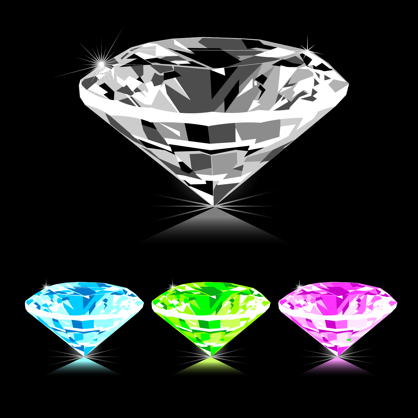 Colored Diamonds on a black background