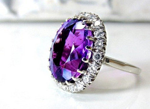 Purple mineral in a ring setting