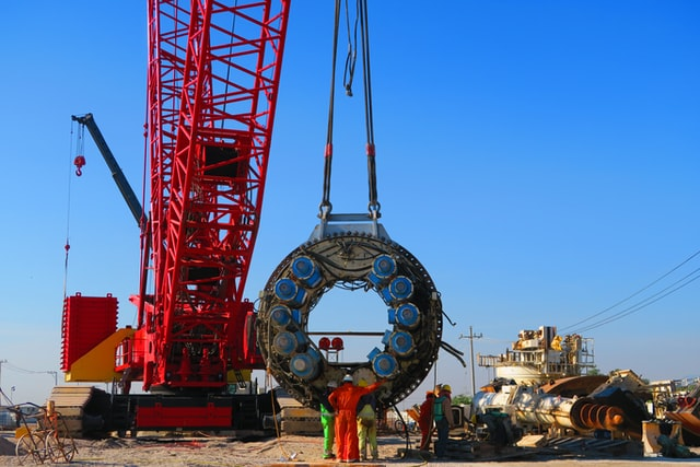 Preparation for TBM cutting head to be lowered into a tunnel