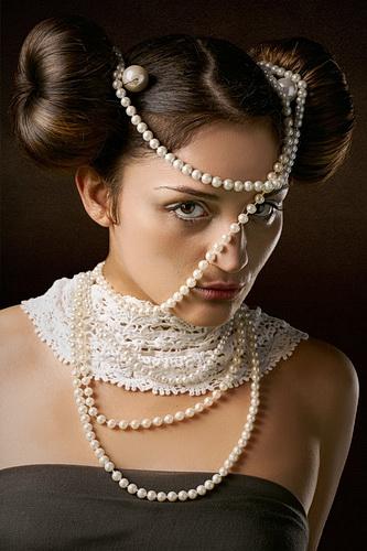 Woman wearing pearls