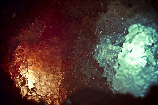 Close up of opal minerals