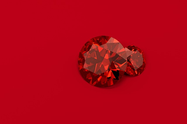 Red Beryl mineral on a red background