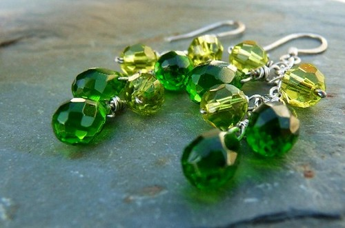 Emerald and Peridot Briolette Cluster Earrings